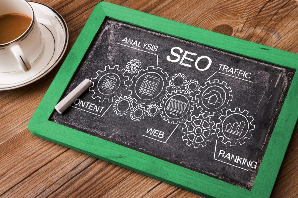 SEO search engine optimization concept on blackboard